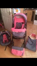 3 in 1 pink and grey pram