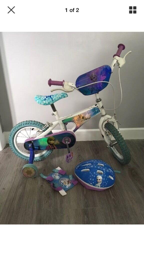 """Disney frozen 14"""" bike, scooter, helmet, knee & elbow pads"""
