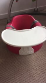 Pink bumbo with straps and removable tray. Perfect condition