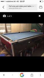 Full size pub slate pool table