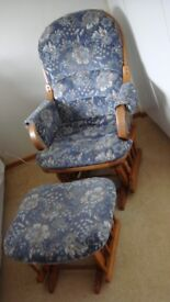 Dutailier Rocking Gliding Armchair Chair & Foot Stool or suit Nursing Feeding Soft Velour Cottage