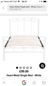 Girls white heart single bed -very good condition