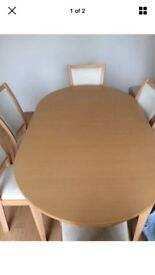 Beech Table and Chairs x6