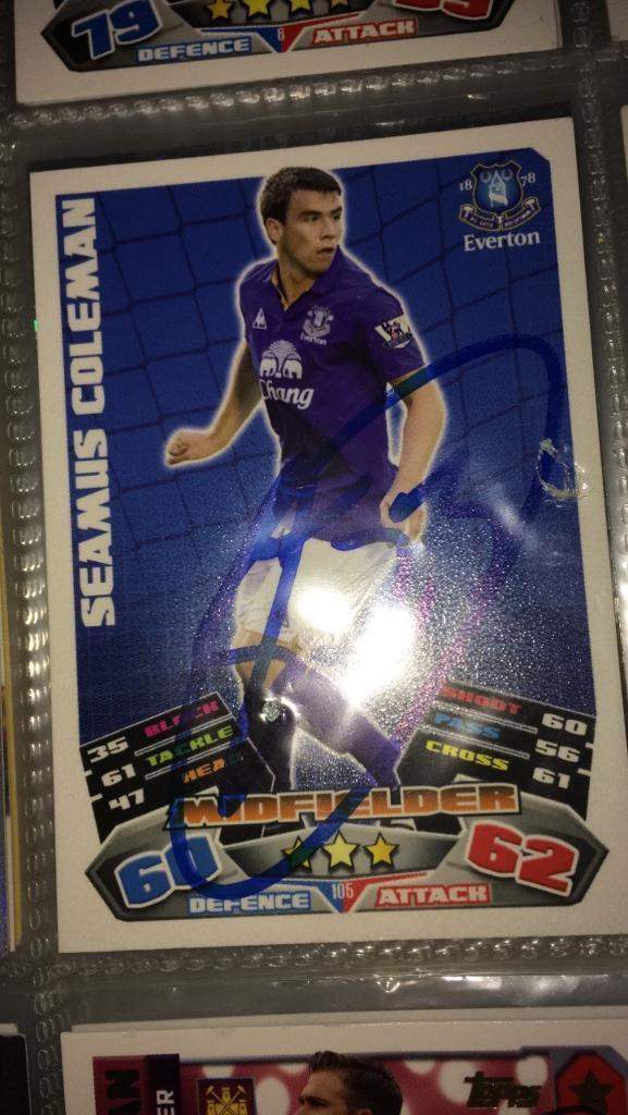 Signed match attax 100% Authentic /