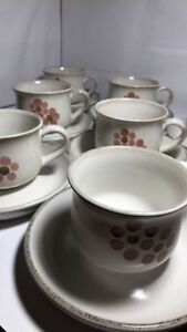 Denby Pottery Stoneware England Set Of 8 Cups & Saucers