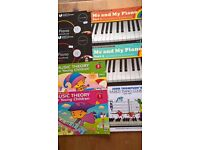 Piano music and theory books for beginners.