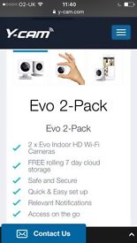 Y-Cam evo security cameras x 2