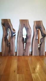 Set of 3 Solid Walnut Wall Mirrors