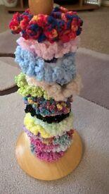 Handmade crochet hair scrunchies