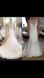 David Tutera white lace wedding dress size 10/12