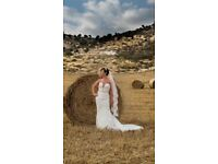 Lace dress with Swarovski gems, silver , pearl headpiece with detailed veil to match dress