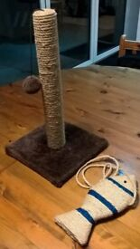 Cat Scratching post & toy - new