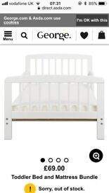 White wooden toddler bed ans mattress new in box