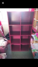 Pink 8 cube shelving unit. Couple of small marks