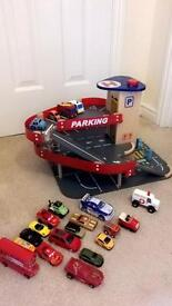Toy garage wooden with cars