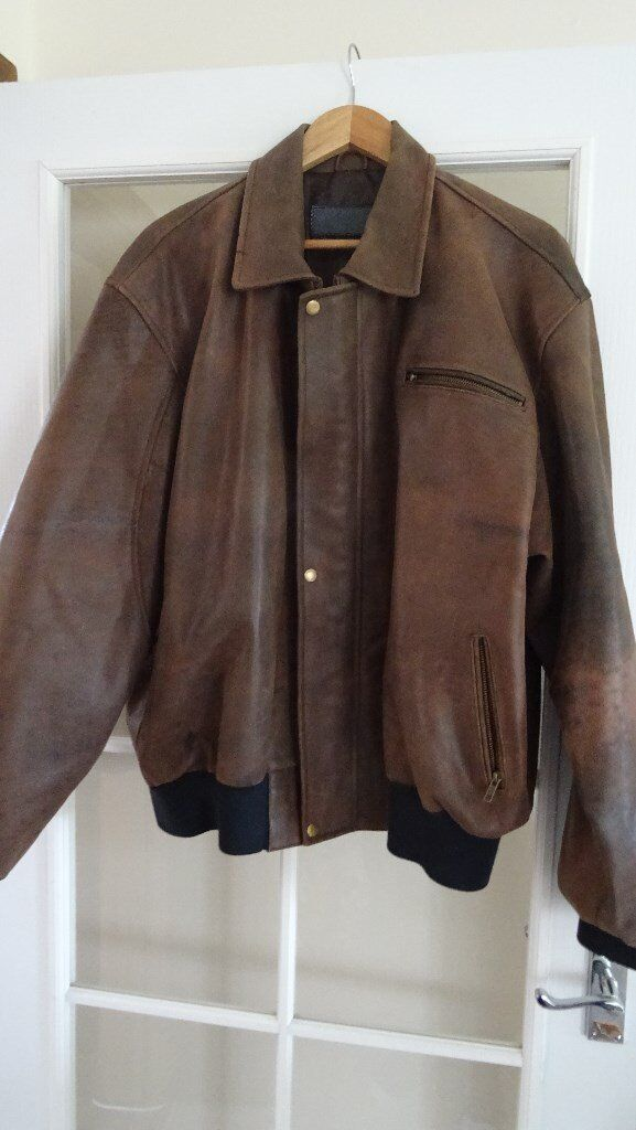 Heavy duty antique brown genuine leather jacket size 2xl