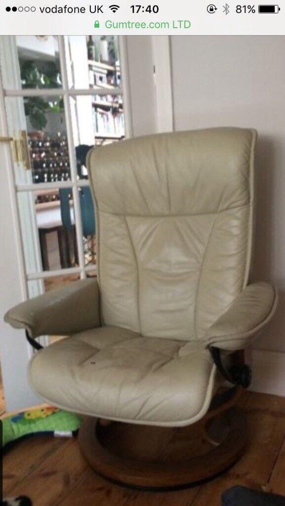 Ekornes Stressless Leather Reclining Swivel Chair In