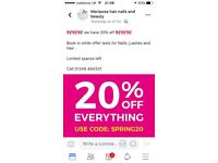 Amazing 20% discount at Maripossa on Nails,Lashes,Hair and brows