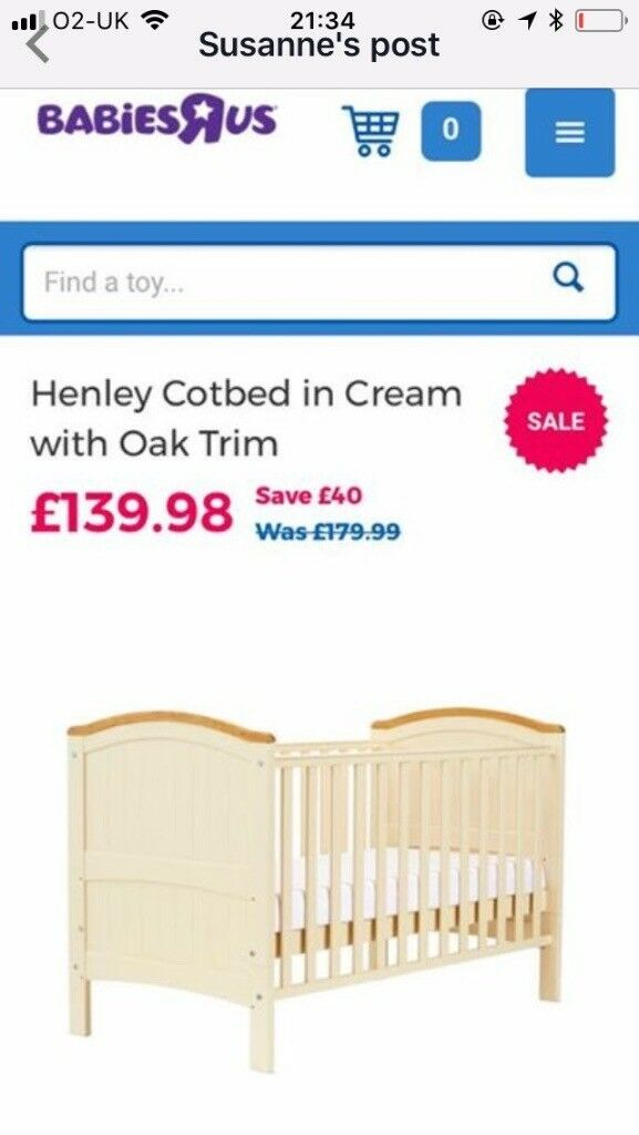 Henley Cotbed in cream with oak trim £40.00