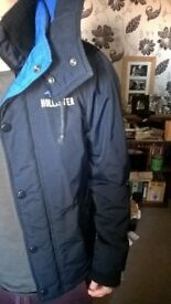 Men's Navy Hollister Coat, size small. Excellent condition.