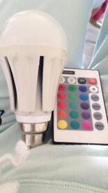 Light changing colour light bulb