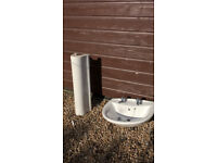 White Washand Basin,Taps & Pedestal