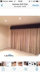 EX ANDERSONS OF INVERURIE BEIGE SUEDE LINED CURTAINS