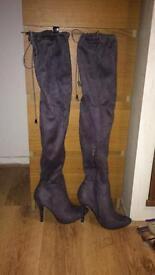 New thigh high grey heeled boots