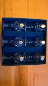 6 LEAD CRYSTAL SHERRY GLASSES – NEW & BOXED