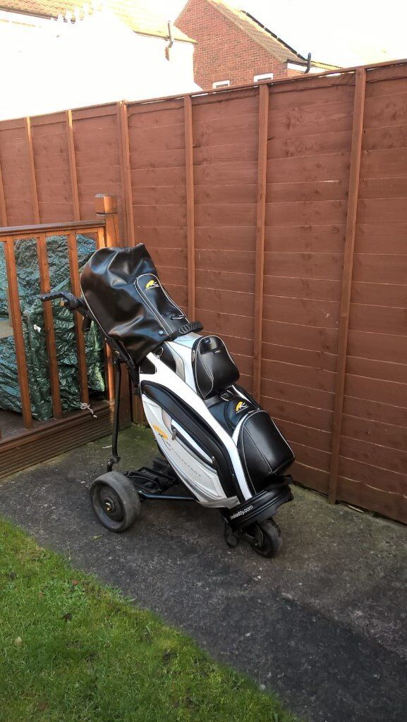 powakaddy electric golf trolley, bag and accessories