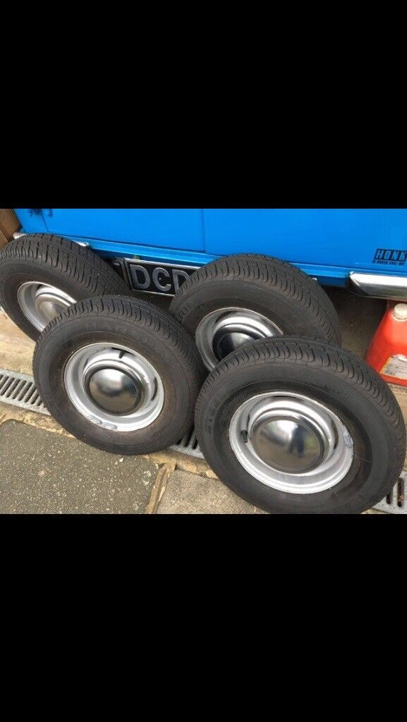 Mini 10inch Steel wheels x4 with brand new tyres and hubcaps