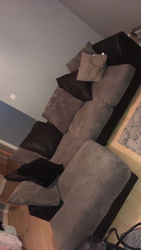 Black and grey scatter back corner sofa