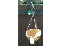 8 New Hanging Baskets complete with tags, matting, chains and 7 Hanging brackets - 24 cm diameter