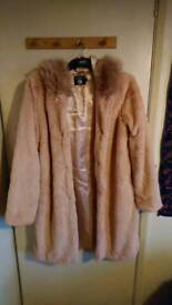 Boohoo pink fluffy coat with hood UK SIZE 10