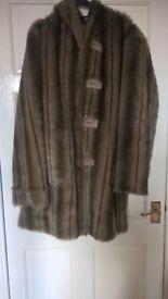 Dennis basso reversible faux fur coat (medium)