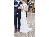 Size 8 Ivory Lace Overlaid Wedding Dress