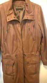 Beautiful tan leather parka style coat