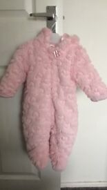 Pink fur snow suit with heart detail. Age 3 months. Used only a few times and in excellent condition