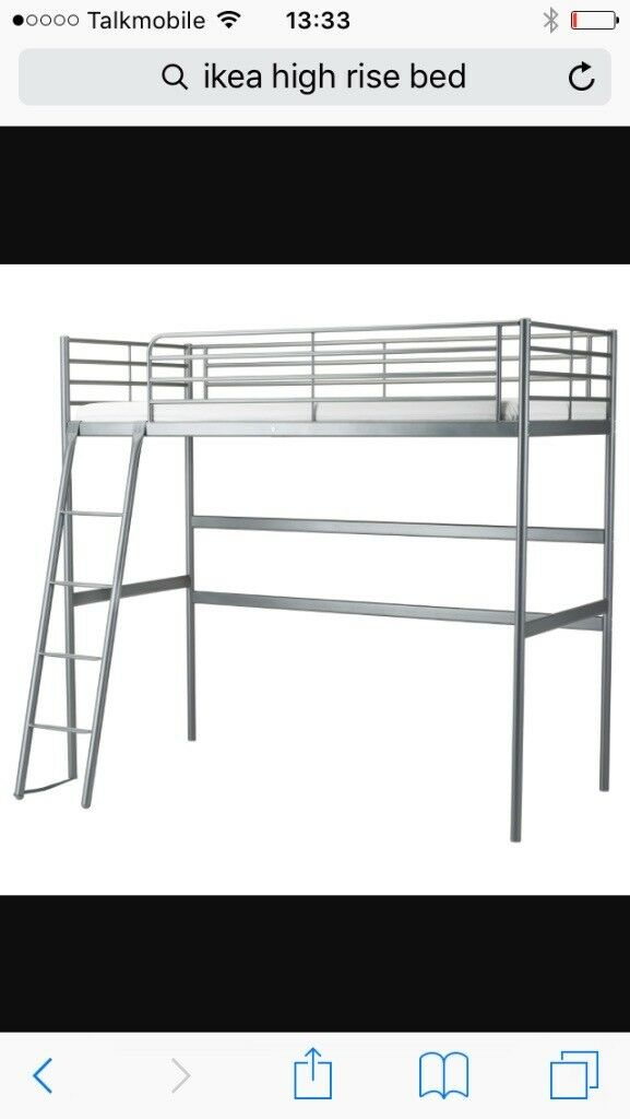 Ikea high rise bed with desk