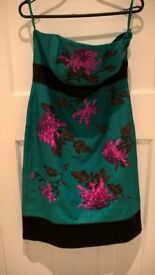 Monsoon, jade, silk mix dress with beautiful cerise floral embroidery