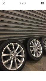"AUDI 17"" ALLOY WHEELS AND TYRES - 3/4MM TREAD. ALLOYS IN DECENT CONDITION"