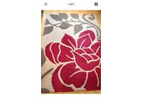 RED, TAUPE, BROWN WOOL RUG 167X120CM GOOD CONDITION