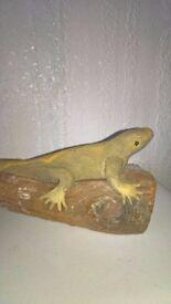 Lizard/Iguana On A Log Handmade Ornament Cute!