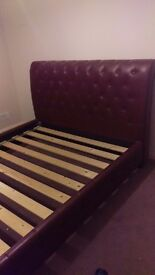 Brown leather King size bed from Dream