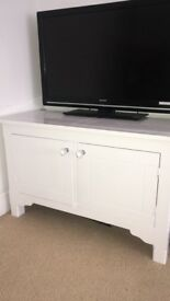 White solid wood Cabinet tv stand unit