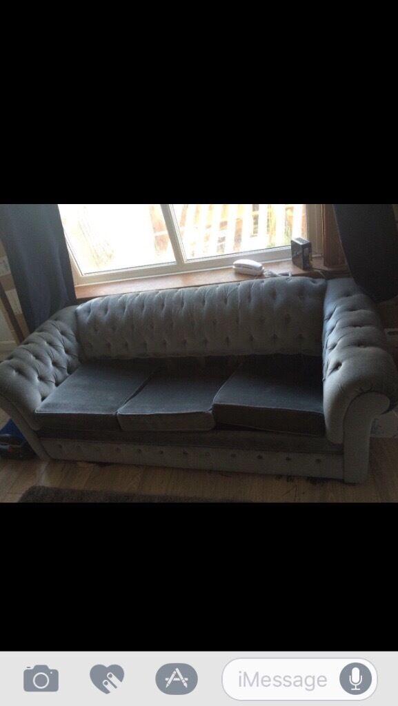 Grey chesterfield sofa needs repair!!