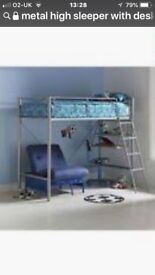 High sleeper single bed with desk and single futon