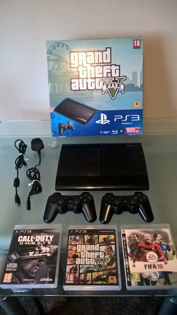 Playstation 3 (Boxed) - Super Slim 500GB - 2 Controllers - Grand Theft Auto 5 / Call of Duty Ghosts