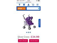 Toy double buggy silver cross immaculate condition purple for child dolls