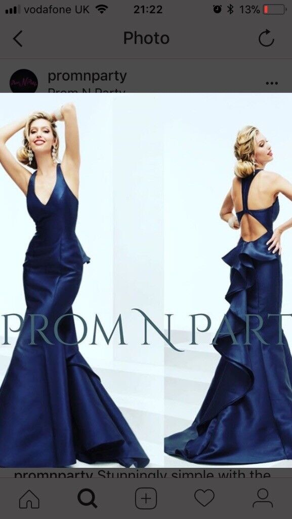 Navy long prom dress size 10 with stunning back and train   in ...